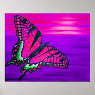 Poster de Butterly rosado-púrpura