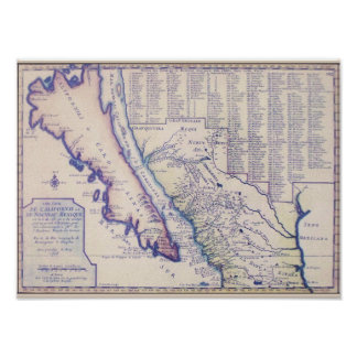 Poster de California 1705 y de New México/impresió