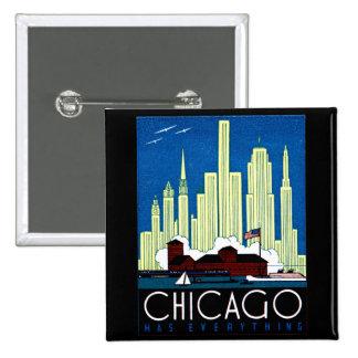 Poster de Chicago de 1930 visitas Pin Cuadrada 5 Cm