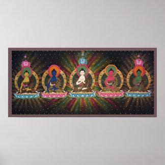 Poster de cinco Dhyani Buddhas
