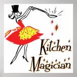 Poster de cocinar retro del arte del mago de la co