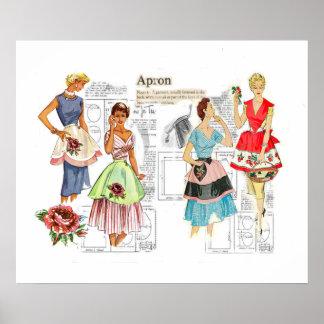 Poster de costura del modelo del delantal del vint