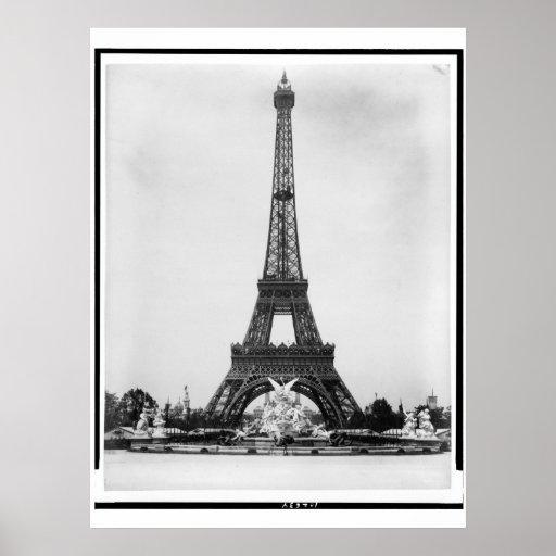 Poster de Coutan de la torre Eiffel y de la fuente