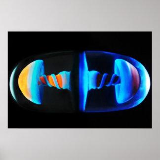 Poster de cristal anaranjado y azul de la cápsula
