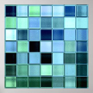 Poster de cristal del mosaico de la teja del lago