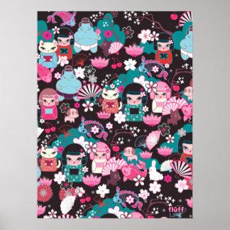 Poster de Cuties Kawaii del kimono por la pelusa