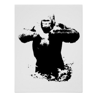 Poster de derrota del pecho del gorila del arte