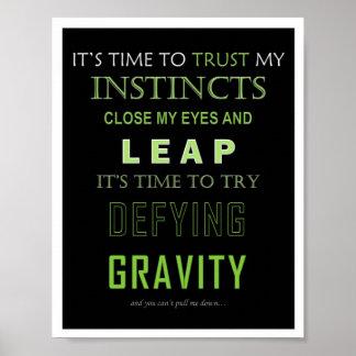 Poster de desafío de la palabra de la gravedad