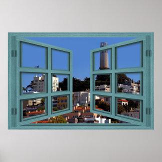 Poster de desatención de la ventana de la torre de