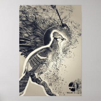 Poster de desintegración del bosquejo del pájaro