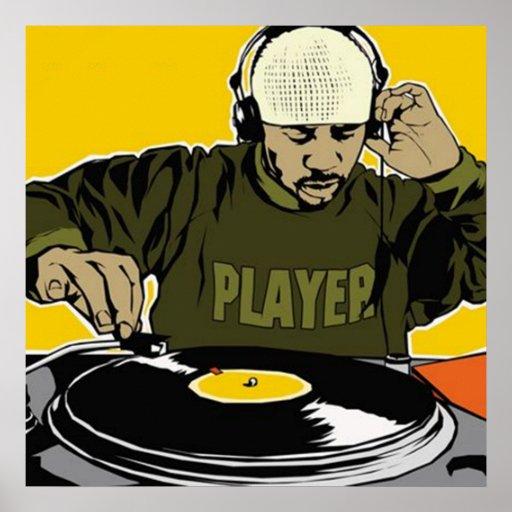 Poster de DJ del disc jockey