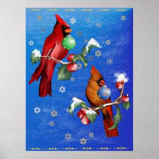 Poster de dos pájaros del navidad