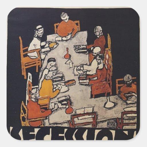 Poster de Egon Schiele- para la secesión de Viena Pegatina Cuadrada
