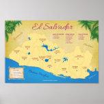 Poster de El Salvador, Departamentos Póster