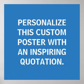 Poster de encargo de la cita, azul inspirado,