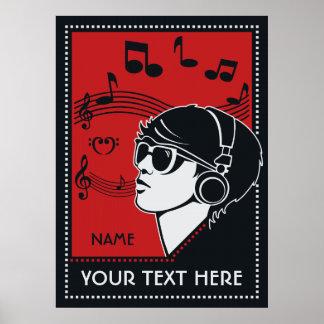 Poster de encargo de la música del art déco del te