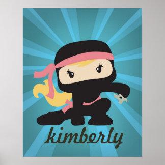 Poster de encargo del chica de Ninja Póster