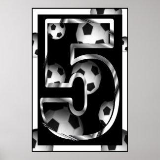 Poster de encargo del fútbol del número 5