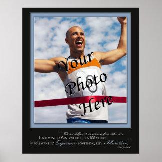 Poster de encargo del maratón - Expereince - azul Póster
