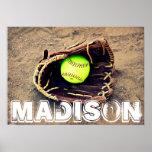 Poster de encargo del softball póster