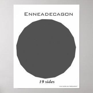 Poster de Enneadecagon del polígono