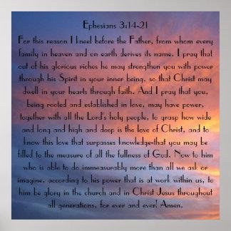 Poster de Ephesians 3 del rezo del verso de la bib