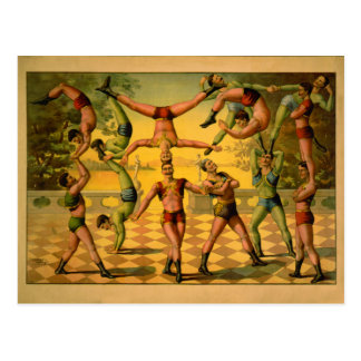 Poster de equilibrio del circo de los acróbatas postal