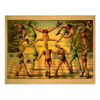 Poster de equilibrio del circo de los acróbatas tarjetas postales