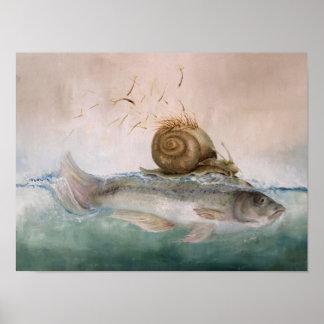 póster de especie pez de caracol de árbol