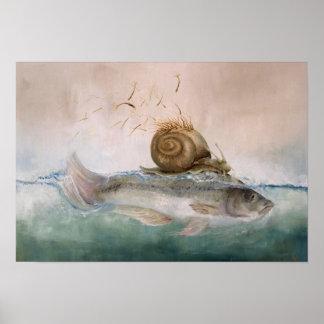 """póster de especie """"pez de caracol de árbol """""""