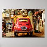 Poster de Fiat 500, cinquecento retro, en Italia