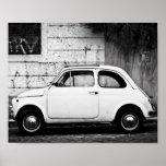 Poster de Fiat 500 del vintage, en Roma, Italia