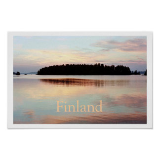 Poster de Finlandia (puesta del sol de la isla) co