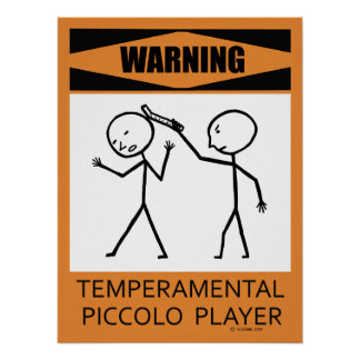 Poster de flautín temperamental amonestador del ju