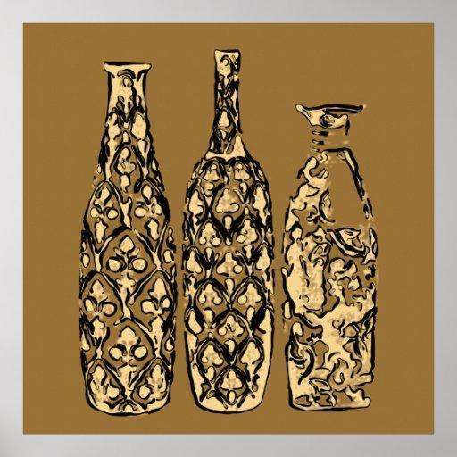 Pôster de garrafas em estilo Pop Art - OB-0021G Póster