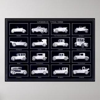 Poster de gran tamaño de los automóviles del vinta