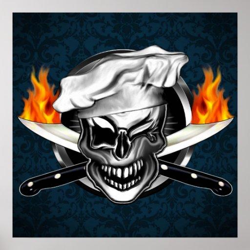 Poster de guiño adaptable del cráneo del cocinero