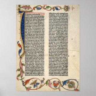 Poster de Gutenberg de la génesis de la biblia