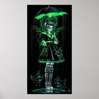 Poster de hadas androide verde de Cybergoth del dí