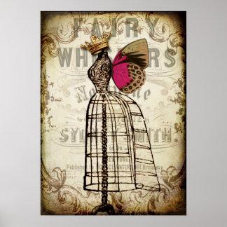 Poster de hadas de la forma del vestido del vintag