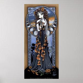 Poster de hadas del arte de la luna gótica de la f