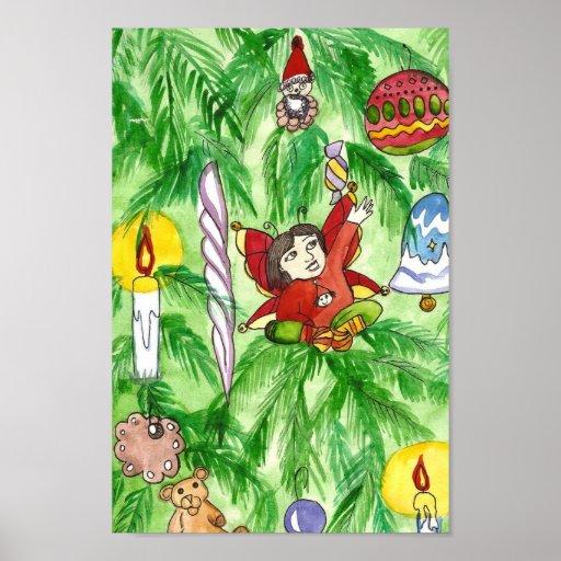 Poster de hadas del arte del árbol de navidad
