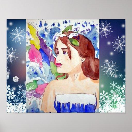 Poster de hadas del arte del copo de nieve