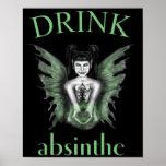 Poster de hadas gótico del ajenjo de la bebida