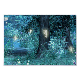 Poster de hadas mágico del vuelo de la noche
