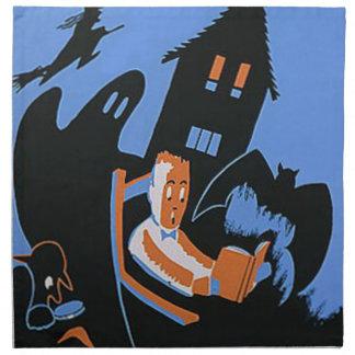 Poster de Halloween de la biblioteca de la lectura Servilletas Imprimidas