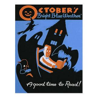 Poster de Halloween de la biblioteca de la lectura Postales