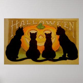 Poster de Halloween de la calabaza de los gatos ne
