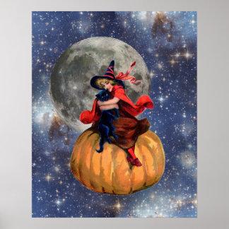 Poster de Halloween de la luna del chica y del gat Póster