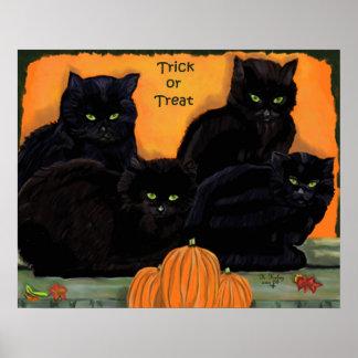 Poster de Halloween de los gatos negros